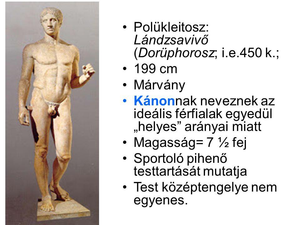 """•Polükleitosz: Lándzsavivő (Dorüphorosz; i.e.450 k.; •199 cm •Márvány •Kánonnak neveznek az ideális férfialak egyedül """"helyes"""" arányai miatt •Magasság"""