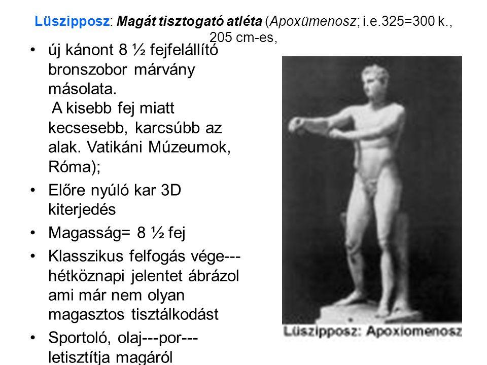Lüszipposz: Magát tisztogató atléta (Apoxümenosz; i.e.325=300 k., 205 cm-es, •új kánont 8 ½ fejfelállító bronszobor márvány másolata. A kisebb fej mia