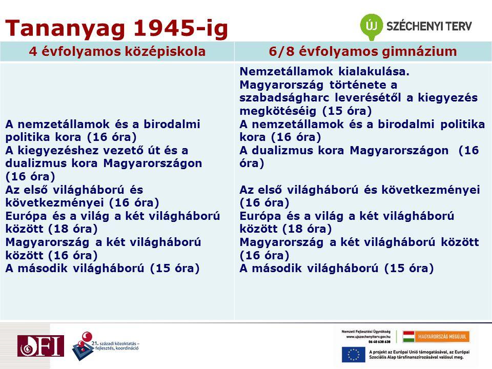 Tananyag 1945-ig 4 évfolyamos középiskola6/8 évfolyamos gimnázium A nemzetállamok és a birodalmi politika kora (16 óra) A kiegyezéshez vezető út és a dualizmus kora Magyarországon (16 óra) Az első világháború és következményei (16 óra) Európa és a világ a két világháború között (18 óra) Magyarország a két világháború között (16 óra) A második világháború (15 óra) Nemzetállamok kialakulása.