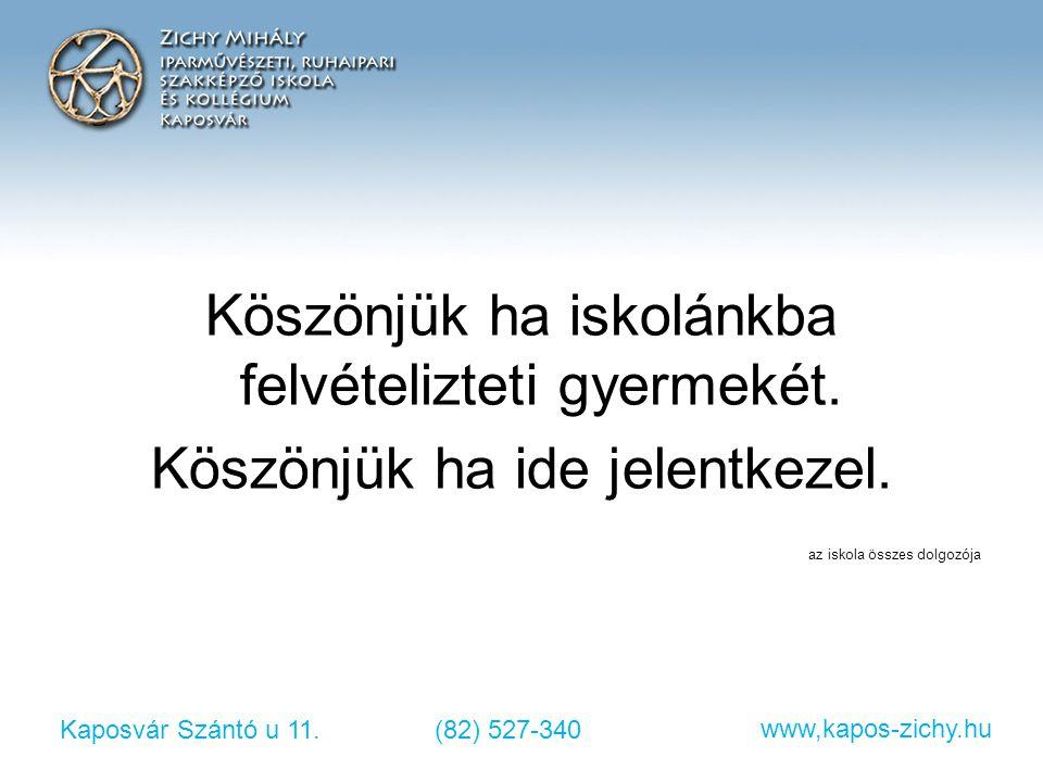 Kaposvár Szántó u 11.(82) 527-340 www,kapos-zichy.hu Köszönjük ha iskolánkba felvételizteti gyermekét. Köszönjük ha ide jelentkezel. az iskola összes