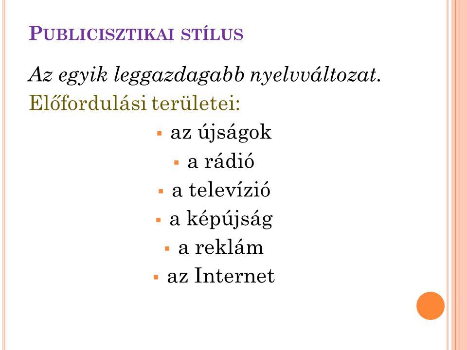 Az egyik leggazdagabb nyelvváltozat. Előfordulási területei:  az újságok  a rádió  a televízió  a képújság  a reklám  az Internet