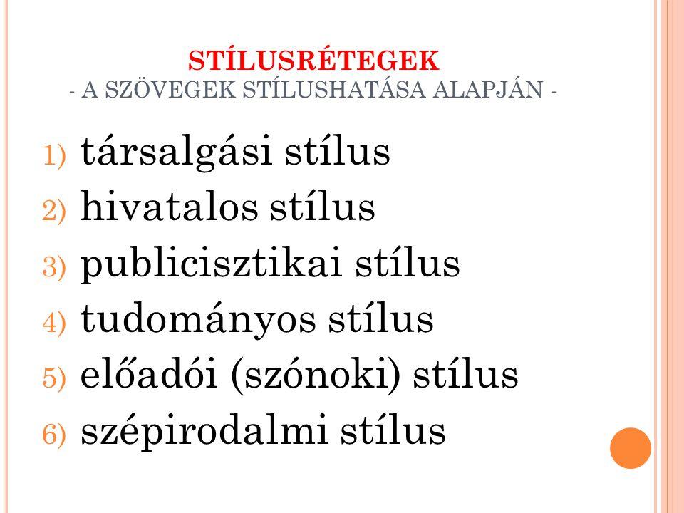 STÍLUSRÉTEGEK - A SZÖVEGEK STÍLUSHATÁSA ALAPJÁN - 1) társalgási stílus 2) hivatalos stílus 3) publicisztikai stílus 4) tudományos stílus 5) előadói (s