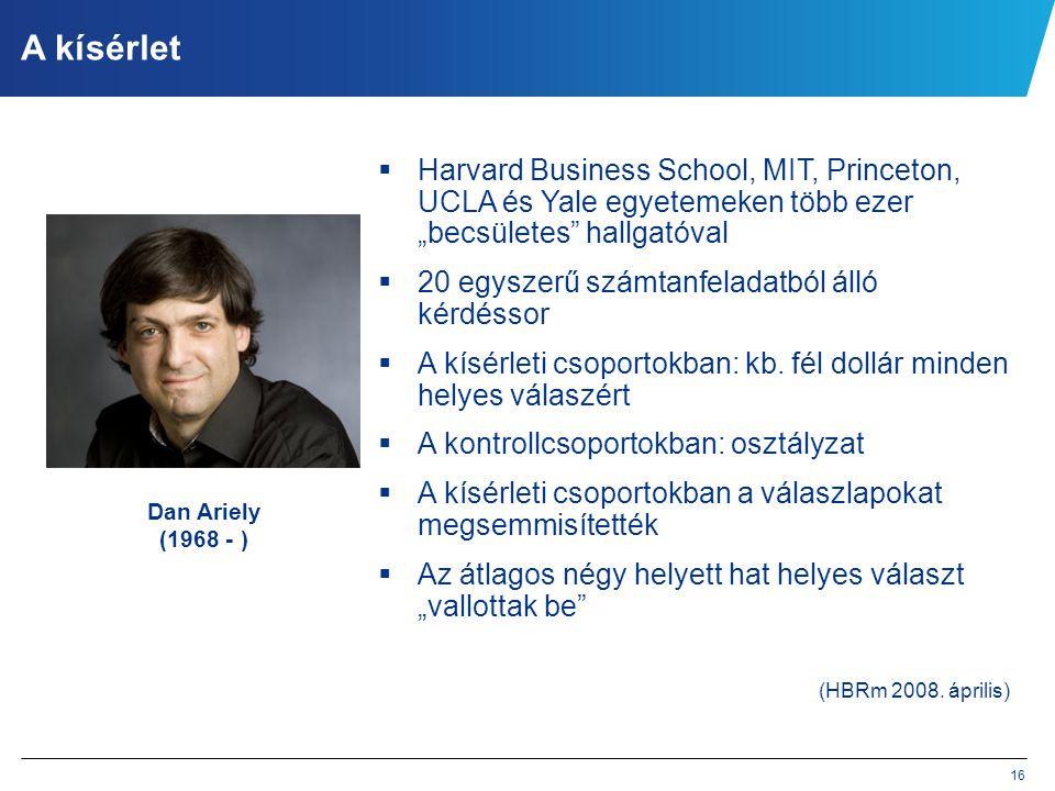 """16 A kísérlet  Harvard Business School, MIT, Princeton, UCLA és Yale egyetemeken több ezer """"becsületes"""" hallgatóval  20 egyszerű számtanfeladatból á"""