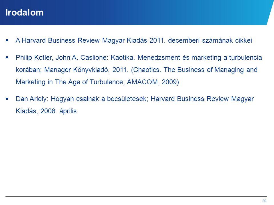 20 Irodalom  A Harvard Business Review Magyar Kiadás 2011. decemberi számának cikkei  Philip Kotler, John A. Caslione: Kaotika. Menedzsment és marke