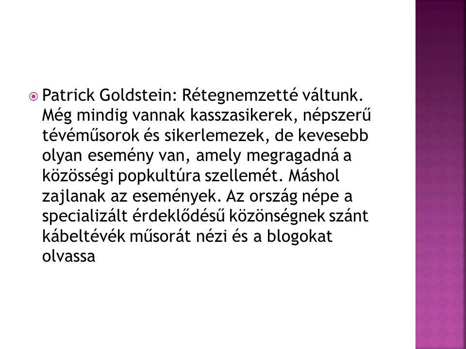  Patrick Goldstein: Rétegnemzetté váltunk.