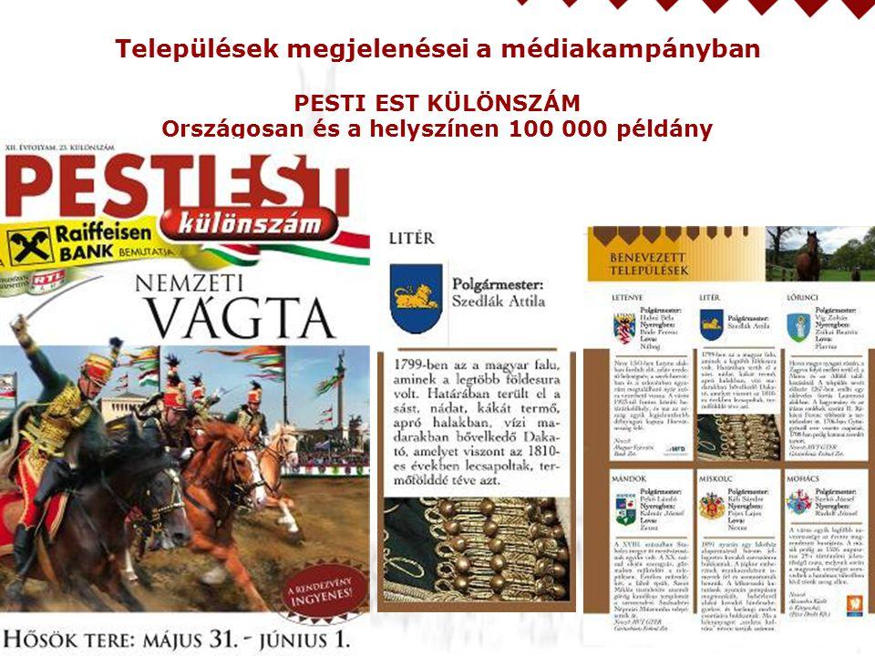 Települések megjelenései a médiakampányban PESTI EST KÜLÖNSZÁM Országosan és a helyszínen 100 000 példány