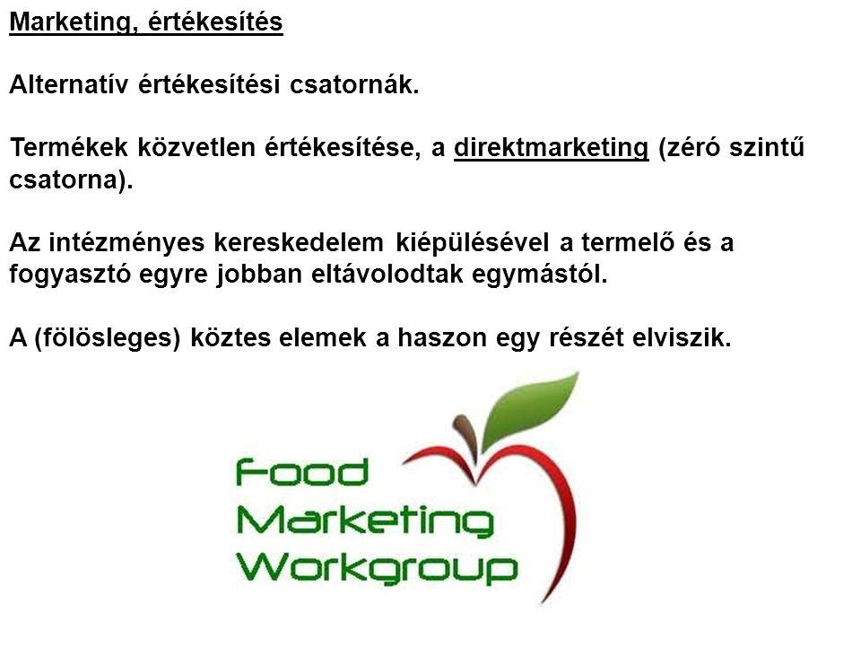 Marketing, értékesítés Alternatív értékesítési csatornák.
