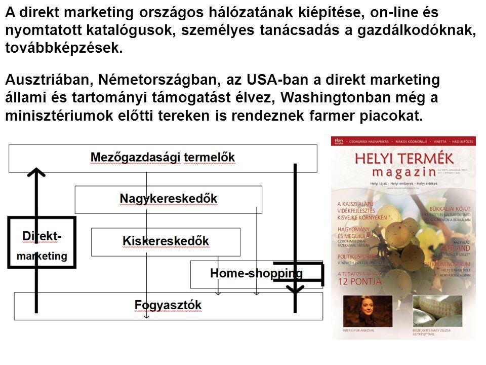 A direkt marketing országos hálózatának kiépítése, on-line és nyomtatott katalógusok, személyes tanácsadás a gazdálkodóknak, továbbképzések.
