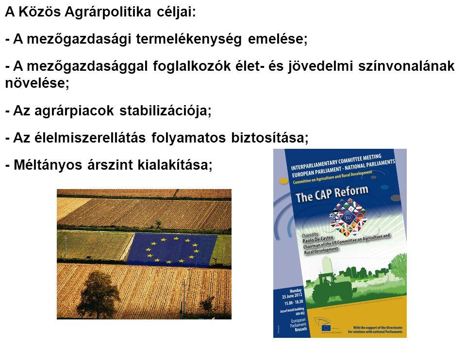 A Közös Agrárpolitika céljai: - A mezőgazdasági termelékenység emelése; - A mezőgazdasággal foglalkozók élet- és jövedelmi színvonalának növelése; - Az agrárpiacok stabilizációja; - Az élelmiszerellátás folyamatos biztosítása; - Méltányos árszint kialakítása;