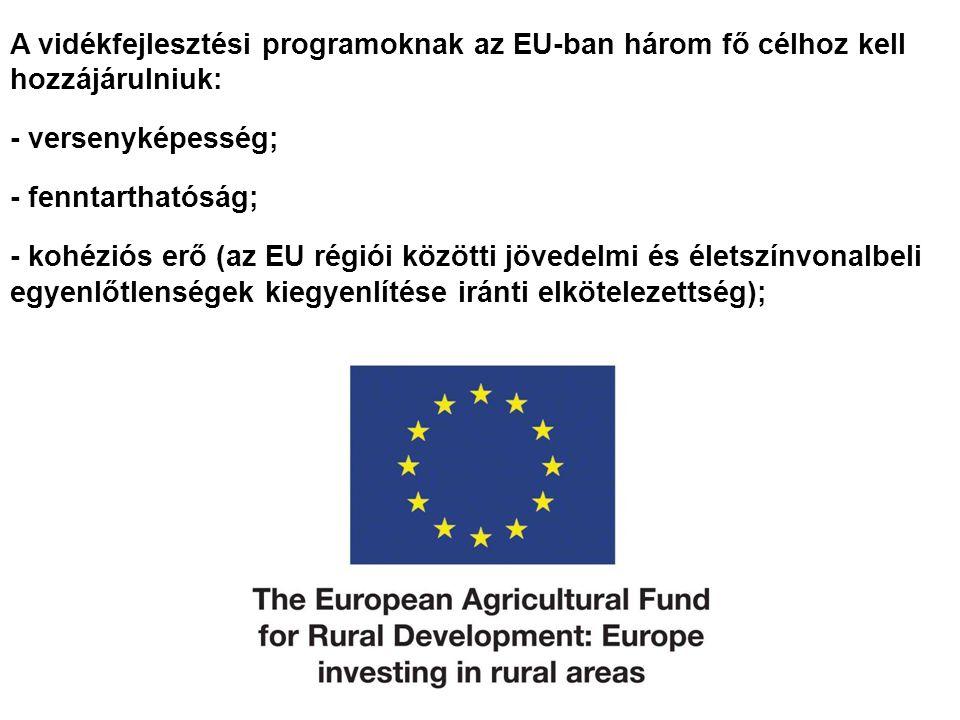 A vidékfejlesztési programoknak az EU-ban három fő célhoz kell hozzájárulniuk: - versenyképesség; - fenntarthatóság; - kohéziós erő (az EU régiói közötti jövedelmi és életszínvonalbeli egyenlőtlenségek kiegyenlítése iránti elkötelezettség);