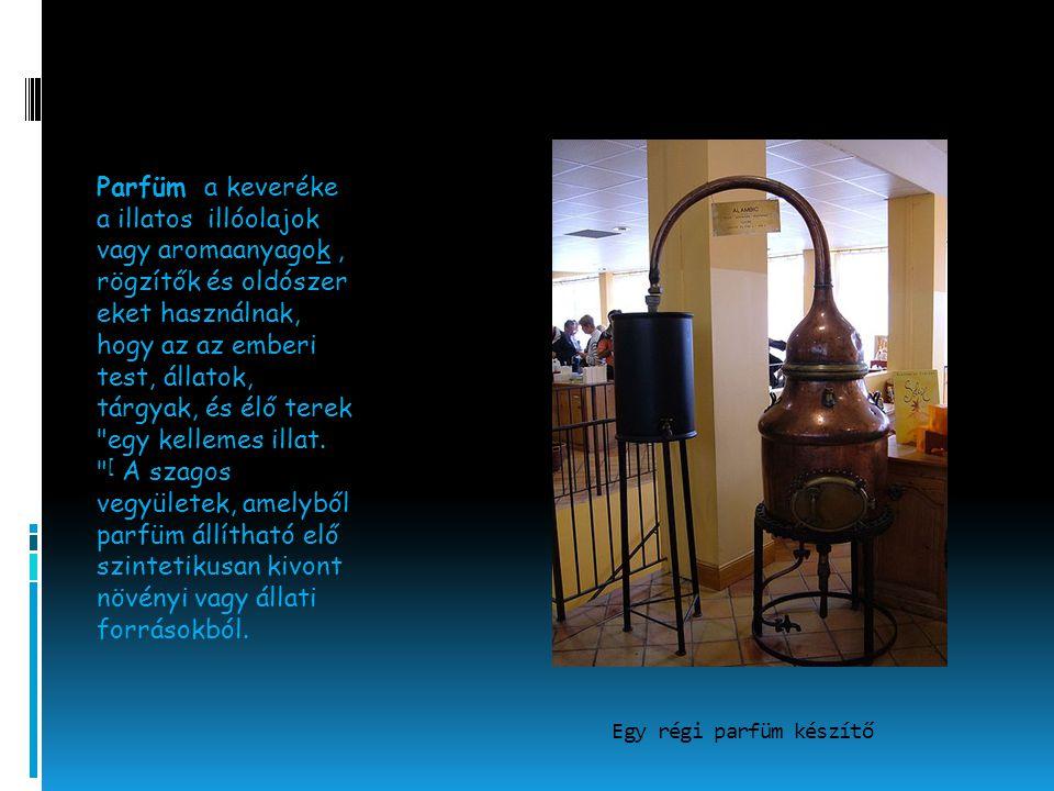 Egy régi parfüm készítő Parfüm a keveréke a illatos illóolajok vagy aromaanyagok, rögzítők és oldószer eket használnak, hogy az az emberi test, állato