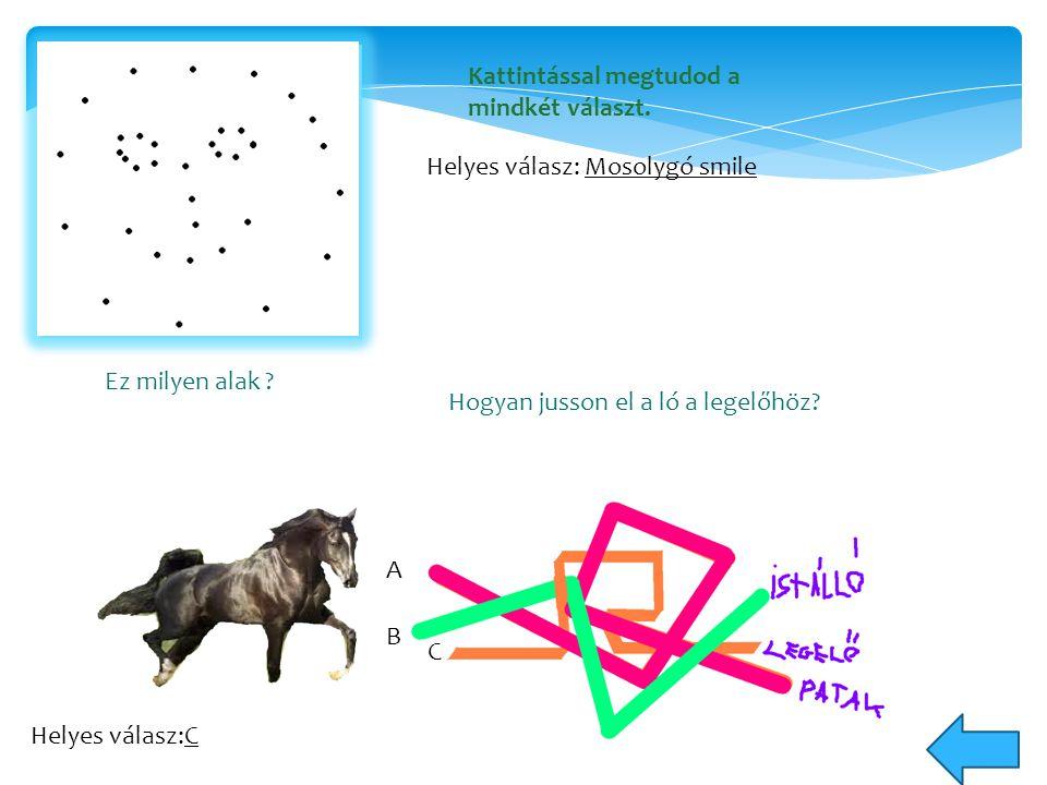 Ez milyen alak ? Helyes válasz: Mosolygó smile Hogyan jusson el a ló a legelőhöz? Helyes válasz:C A B C Kattintással megtudod a mindkét választ.