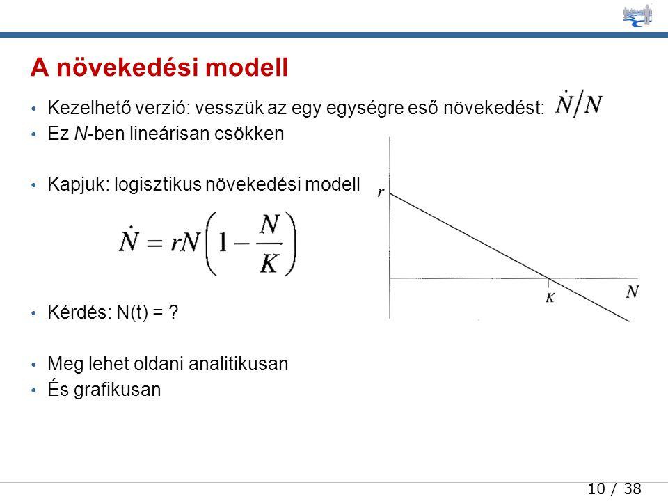 10 / 38 • Kezelhető verzió: vesszük az egy egységre eső növekedést: • Ez N-ben lineárisan csökken • Kapjuk: logisztikus növekedési modell • Kérdés: N(t) = .