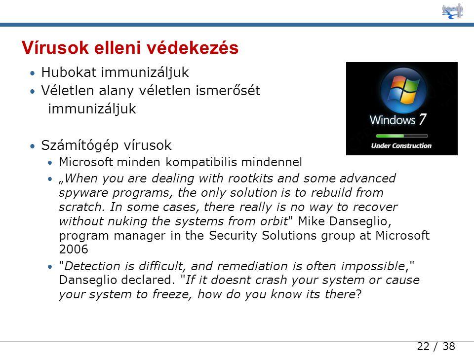 """22 / 38 • Hubokat immunizáljuk • Véletlen alany véletlen ismerősét immunizáljuk • Számítógép vírusok • Microsoft minden kompatibilis mindennel • """"When you are dealing with rootkits and some advanced spyware programs, the only solution is to rebuild from scratch."""