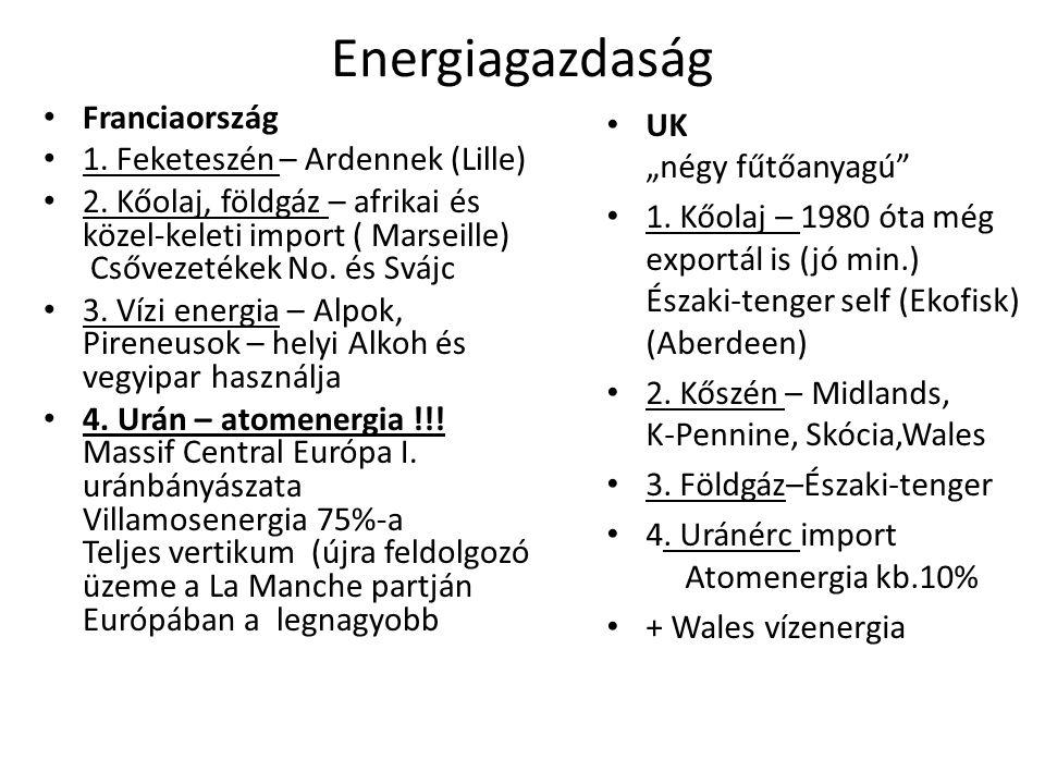 Energiagazdaság • Franciaország • 1.Feketeszén – Ardennek (Lille) • 2.