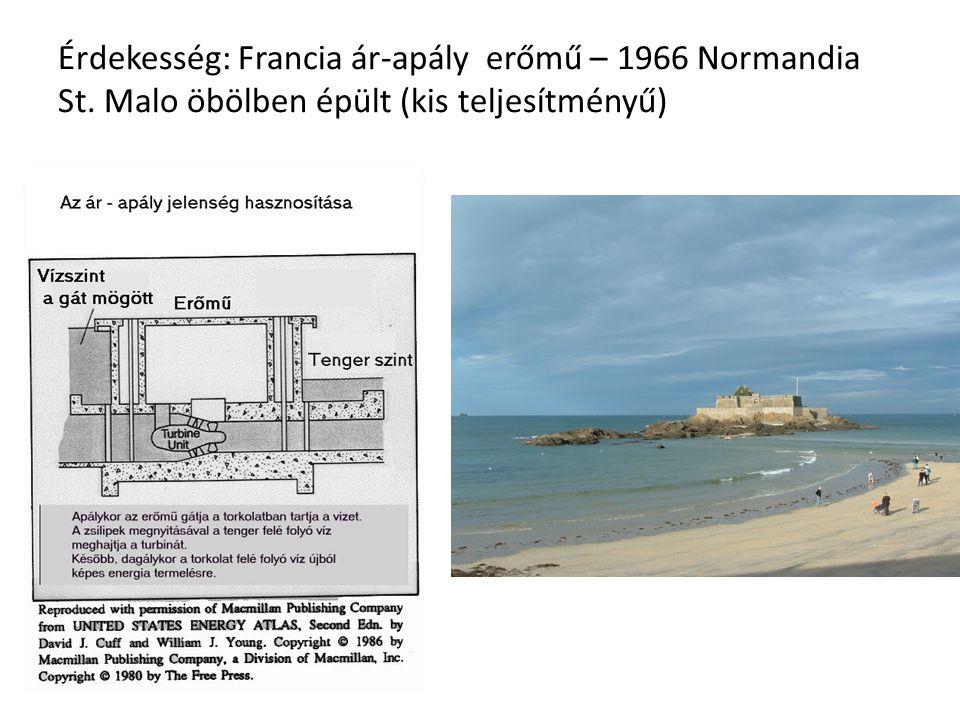 Érdekesség: Francia ár-apály erőmű – 1966 Normandia St. Malo öbölben épült (kis teljesítményű)