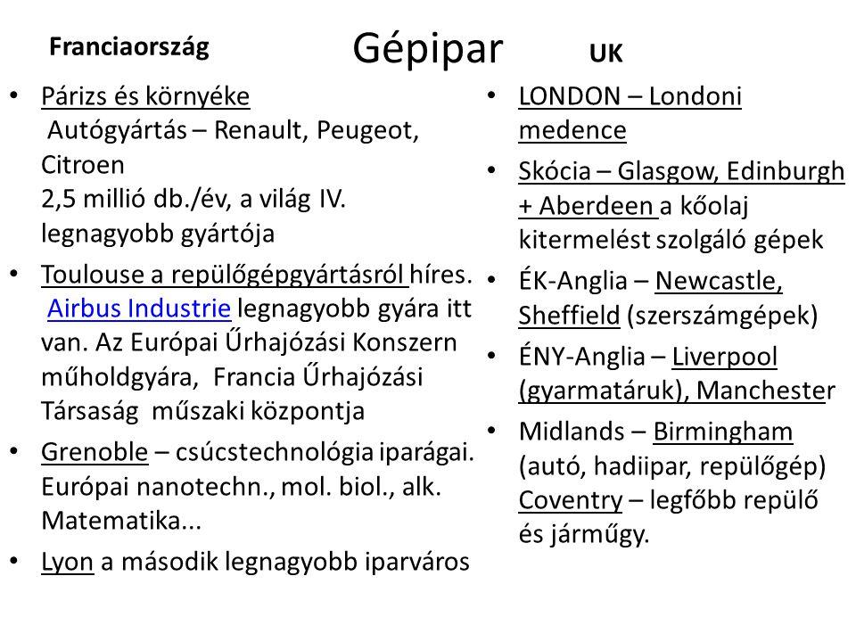 Gépipar Franciaország • Párizs és környéke Autógyártás – Renault, Peugeot, Citroen 2,5 millió db./év, a világ IV.