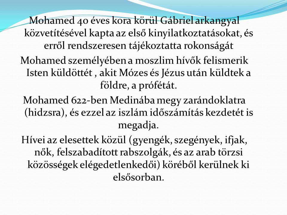 Mohamed 40 éves kora körül Gábriel arkangyal közvetítésével kapta az első kinyilatkoztatásokat, és erről rendszeresen tájékoztatta rokonságát Mohamed