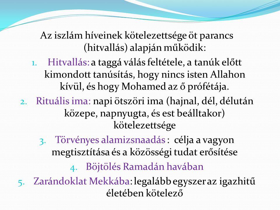 Az iszlám híveinek kötelezettsége öt parancs (hitvallás) alapján működik: 1. Hitvallás: a taggá válás feltétele, a tanúk előtt kimondott tanúsítás, ho