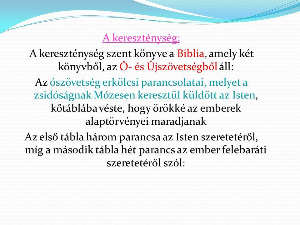 A kereszténység: A kereszténység szent könyve a Biblia, amely két könyvből, az Ó- és Újszövetségből áll: Az ószövetség erkölcsi parancsolatai, melyet