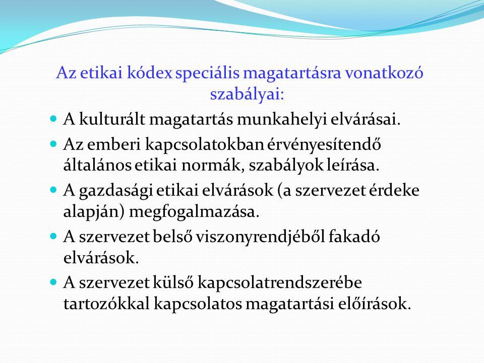 Az etikai kódex speciális magatartásra vonatkozó szabályai:  A kulturált magatartás munkahelyi elvárásai.  Az emberi kapcsolatokban érvényesítendő á
