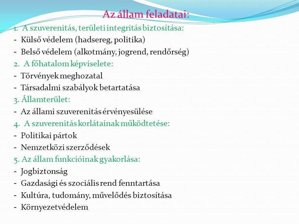 Az állam feladatai: 1. A szuverenitás, területi integritás biztosítása: - Külső védelem (hadsereg, politika) - Belső védelem (alkotmány, jogrend, rend