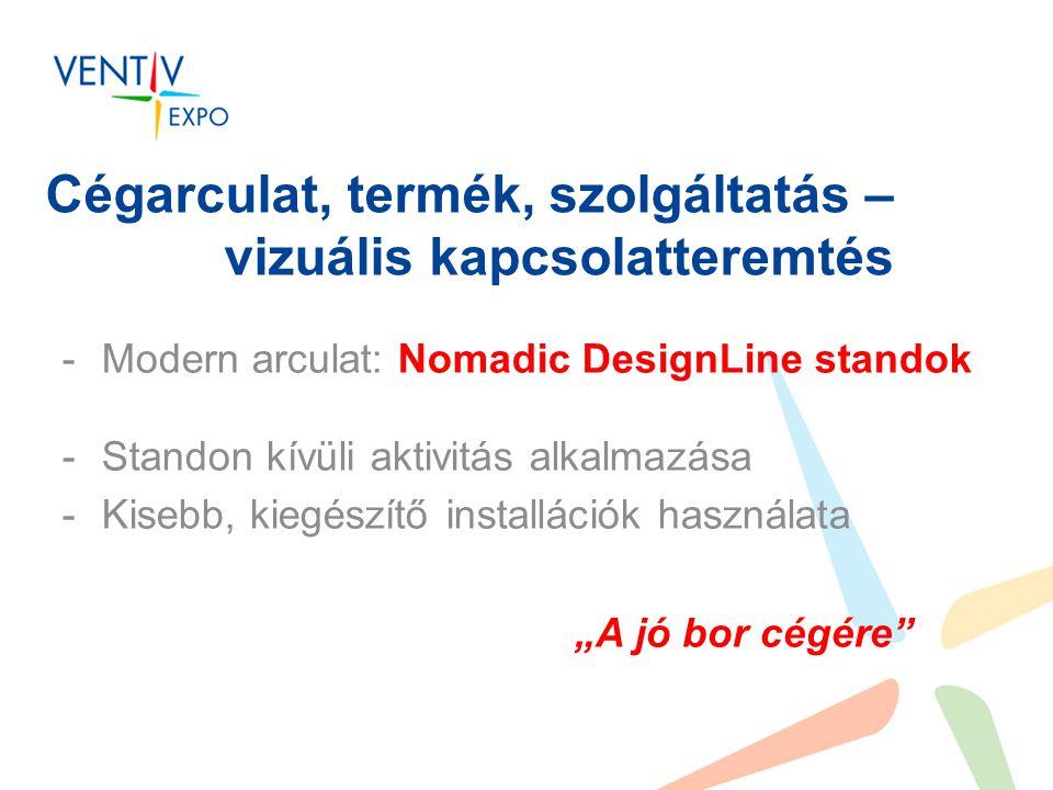 """Cégarculat, termék, szolgáltatás – vizuális kapcsolatteremtés -Modern arculat: Nomadic DesignLine standok -Standon kívüli aktivitás alkalmazása -Kisebb, kiegészítő installációk használata """"A jó bor cégére"""
