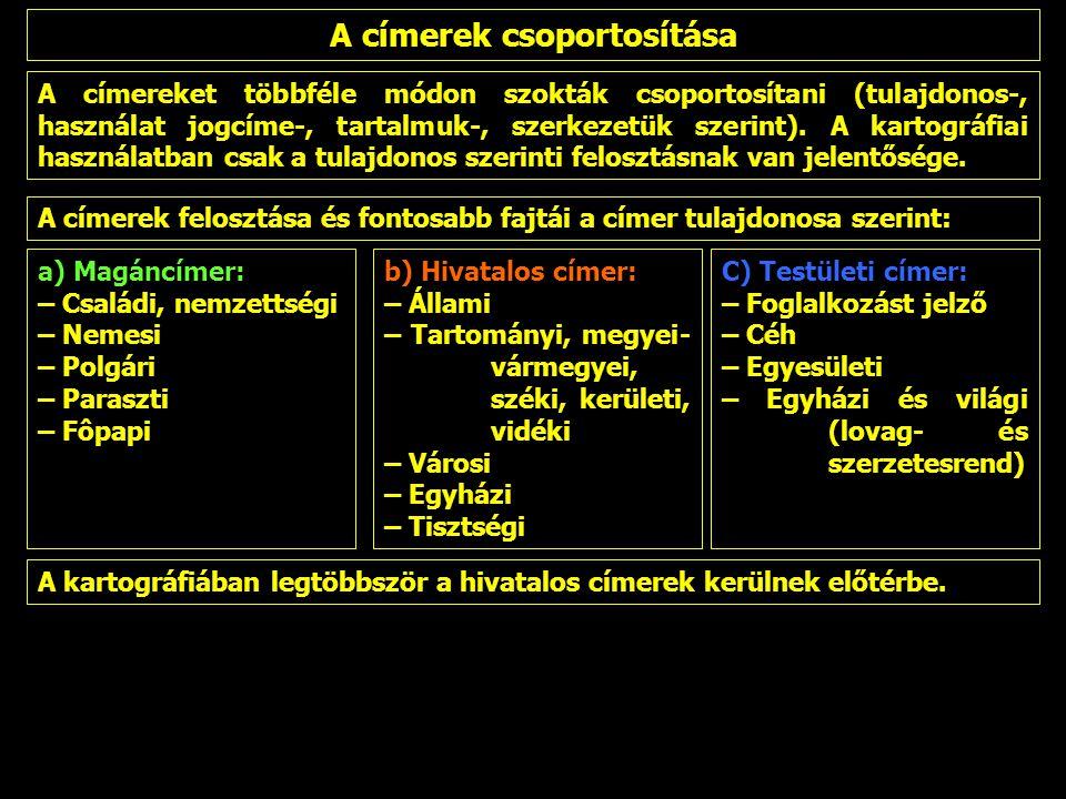 A címereket többféle módon szokták csoportosítani (tulajdonos-, használat jogcíme-, tartalmuk-, szerkezetük szerint). A kartográfiai használatban csak
