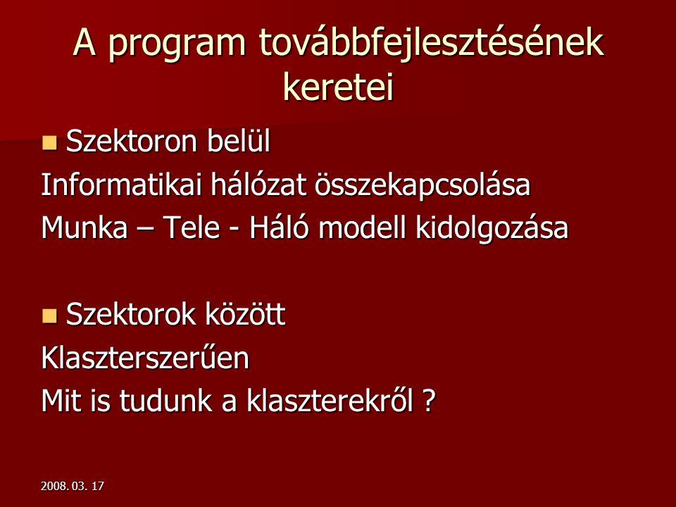 2008. 03. 17 A program továbbfejlesztésének keretei  Szektoron belül Informatikai hálózat összekapcsolása Munka – Tele - Háló modell kidolgozása  Sz