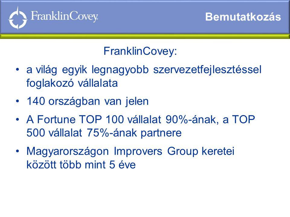 FranklinCovey: •a világ egyik legnagyobb szervezetfejlesztéssel foglakozó vállalata •140 országban van jelen •A Fortune TOP 100 vállalat 90%-ának, a TOP 500 vállalat 75%-ának partnere •Magyarországon Improvers Group keretei között több mint 5 éve Bemutatkozás