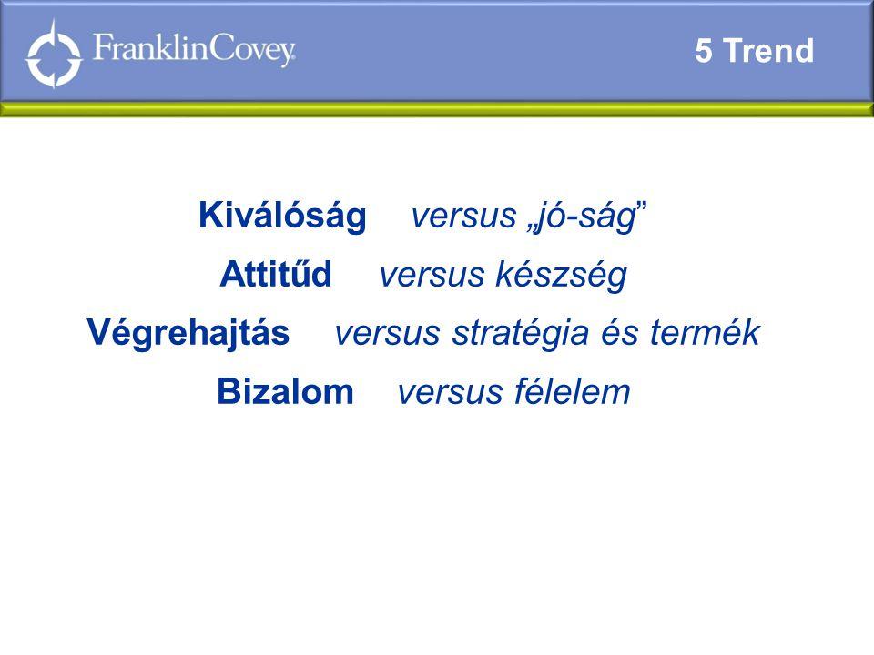 """Kiválóság versus """"jó-ság Attitűd versus készség Végrehajtás versus stratégia és termék Bizalom versus félelem 5 Trend"""