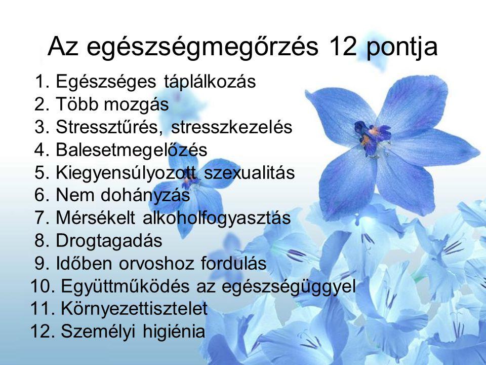 Az egészségmegőrzés 12 pontja 1. Egészséges táplálkozás 2. Több mozgás 3. Stressztűrés, stresszkezelés 4. Balesetmegelőzés 5. Kiegyensúlyozott szexual