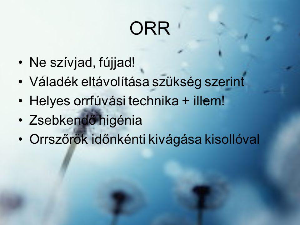 ORR •Ne szívjad, fújjad.•Váladék eltávolítása szükség szerint •Helyes orrfúvási technika + illem.