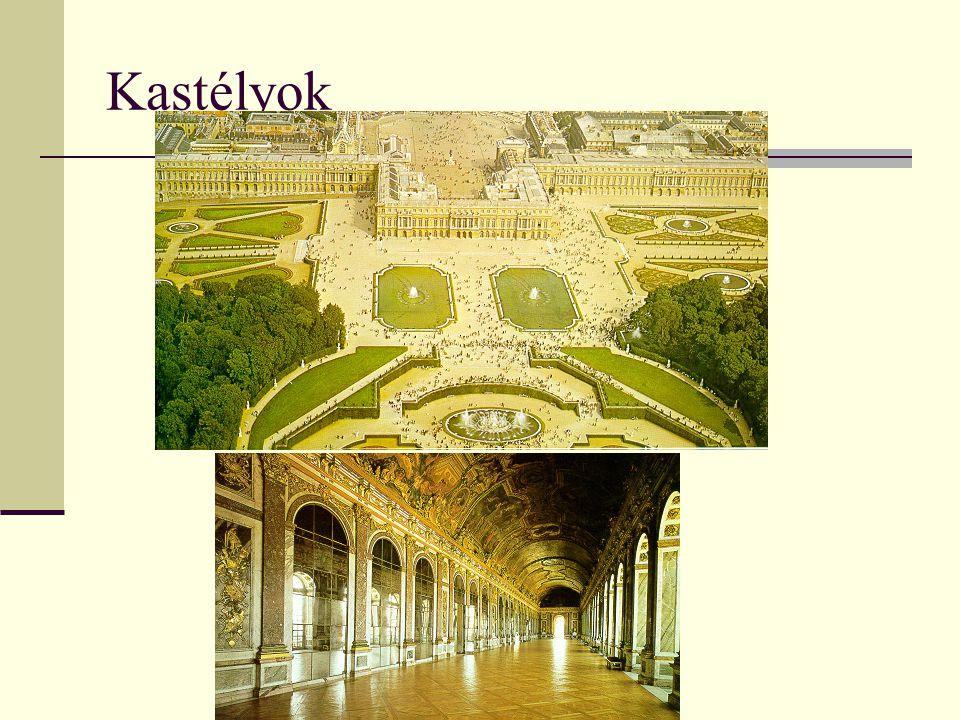 """Sík területen ↔ középkor i várak -Kovácsoltvas- kapu -Tükörterem -""""barokk kert -Szobrok, szökőkutak - Jellemző színe : sárga"""