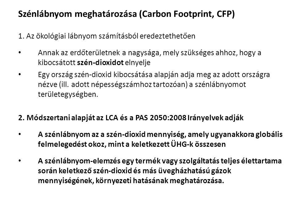 Szénlábnyom meghatározása (Carbon Footprint, CFP) 1. Az ökológiai lábnyom számításból eredeztethetően • Annak az erdőterületnek a nagysága, mely szüks