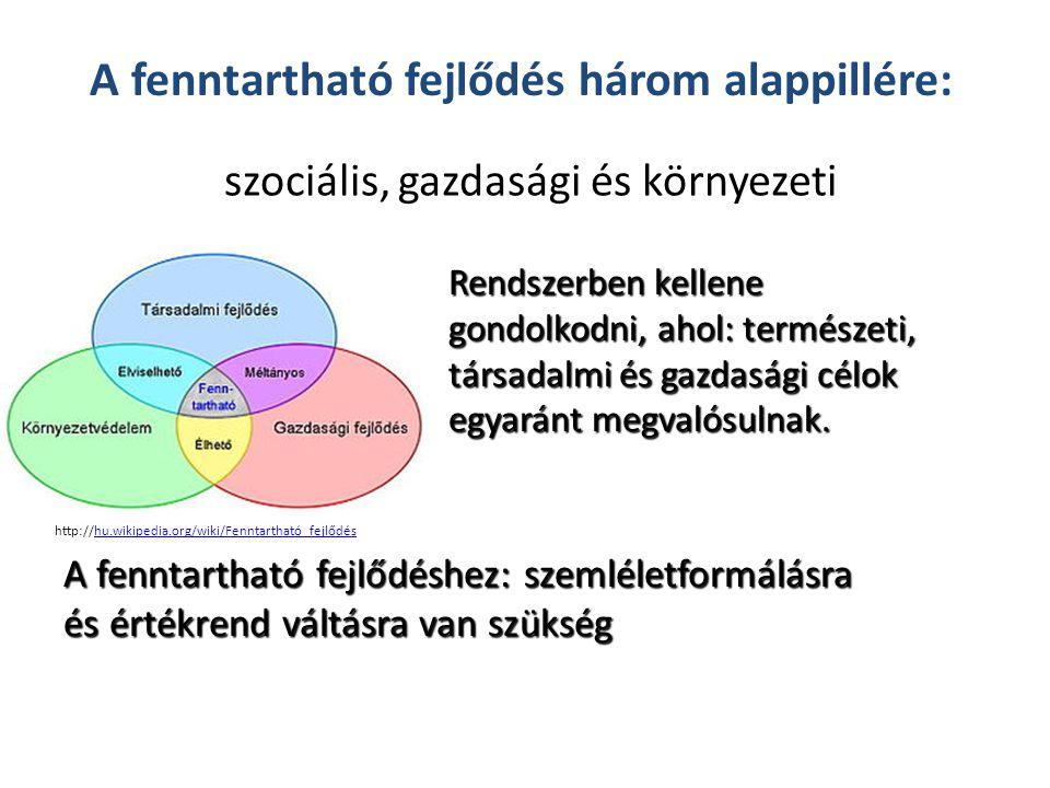 szociális, gazdasági és környezeti A fenntartható fejlődés három alappillére: A fenntartható fejlődéshez: szemléletformálásra és értékrend váltásra van szükség Rendszerben kellene gondolkodni, ahol: természeti, társadalmi és gazdasági célok egyaránt megvalósulnak.