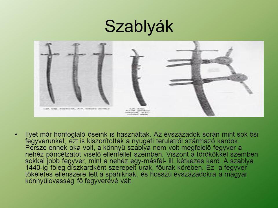 Szablyák •Ilyet már honfoglaló őseink is használtak. Az évszázadok során mint sok ősi fegyverünket, ezt is kiszorították a nyugati területről származó