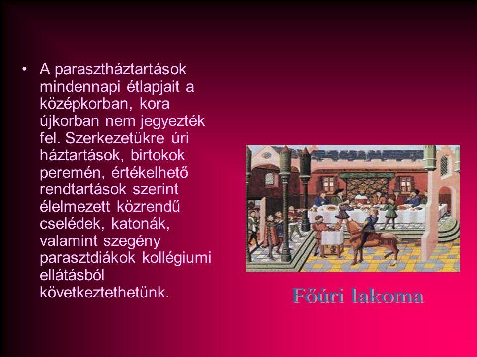 •A parasztháztartások mindennapi étlapjait a középkorban, kora újkorban nem jegyezték fel. Szerkezetükre úri háztartások, birtokok peremén, értékelhet