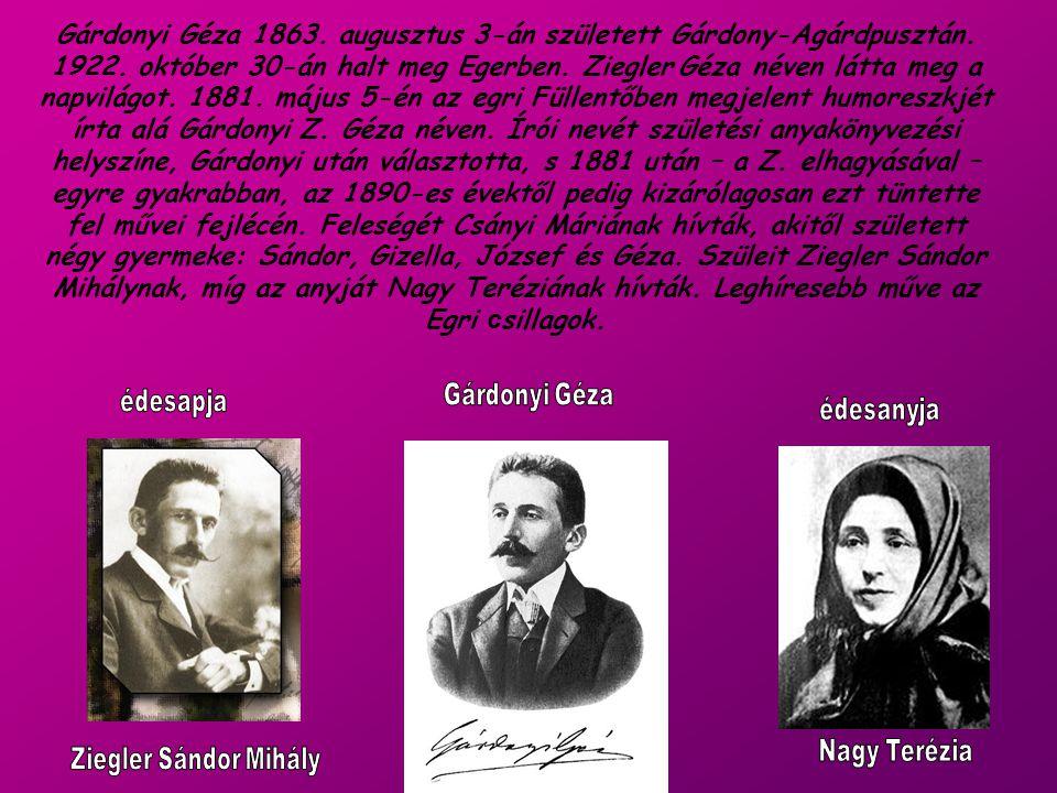 Gárdonyi Géza 1863. augusztus 3-án született Gárdony-Agárdpusztán. 1922. október 30-án halt meg Egerben. Ziegler Géza néven látta meg a napvilágot. 18