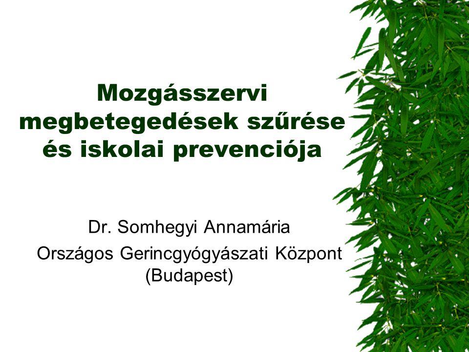 Mozgásszervi megbetegedések szűrése és iskolai prevenciója Dr. Somhegyi Annamária Országos Gerincgyógyászati Központ (Budapest)
