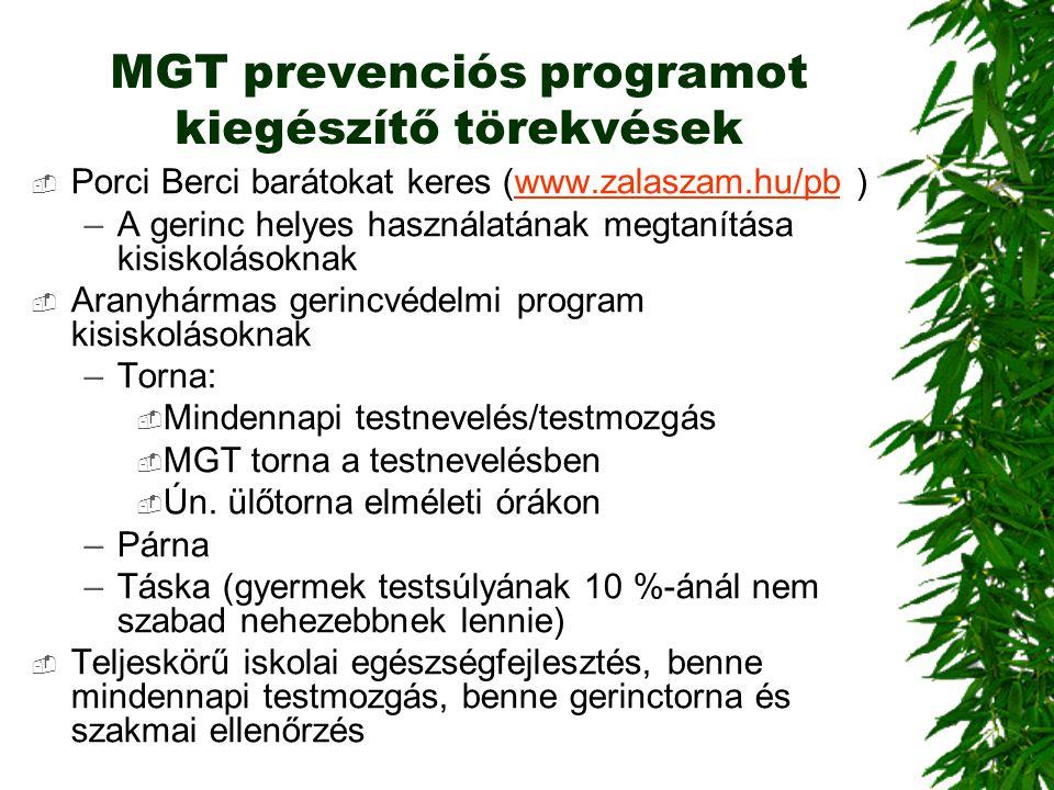 MGT prevenciós programot kiegészítő törekvések  Porci Berci barátokat keres (www.zalaszam.hu/pb )www.zalaszam.hu/pb –A gerinc helyes használatának me
