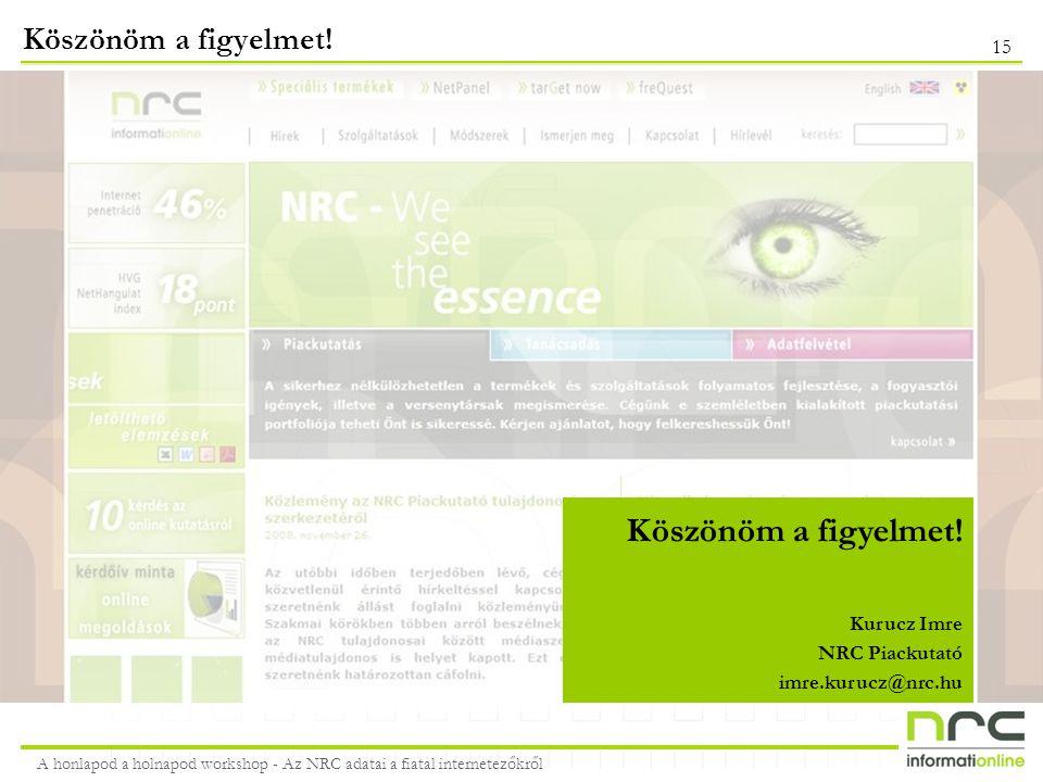 A honlapod a holnapod workshop - Az NRC adatai a fiatal internetezőkről 15 Köszönöm a figyelmet! Kurucz Imre NRC Piackutató imre.kurucz@nrc.hu