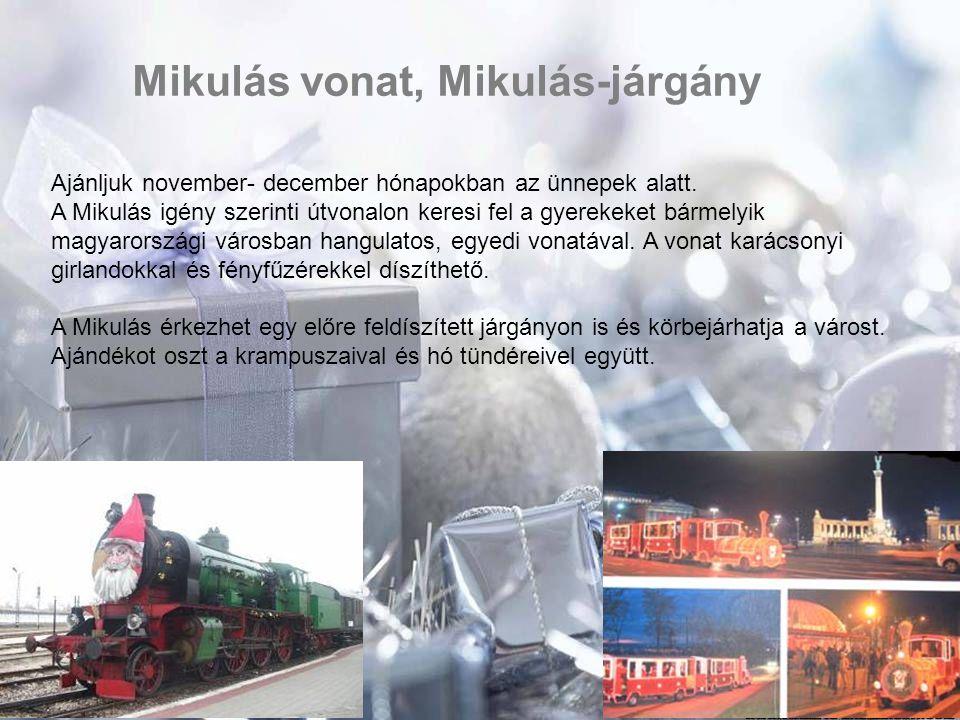 Mikulás vonat, Mikulás-járgány Ajánljuk november- december hónapokban az ünnepek alatt. A Mikulás igény szerinti útvonalon keresi fel a gyerekeket bár