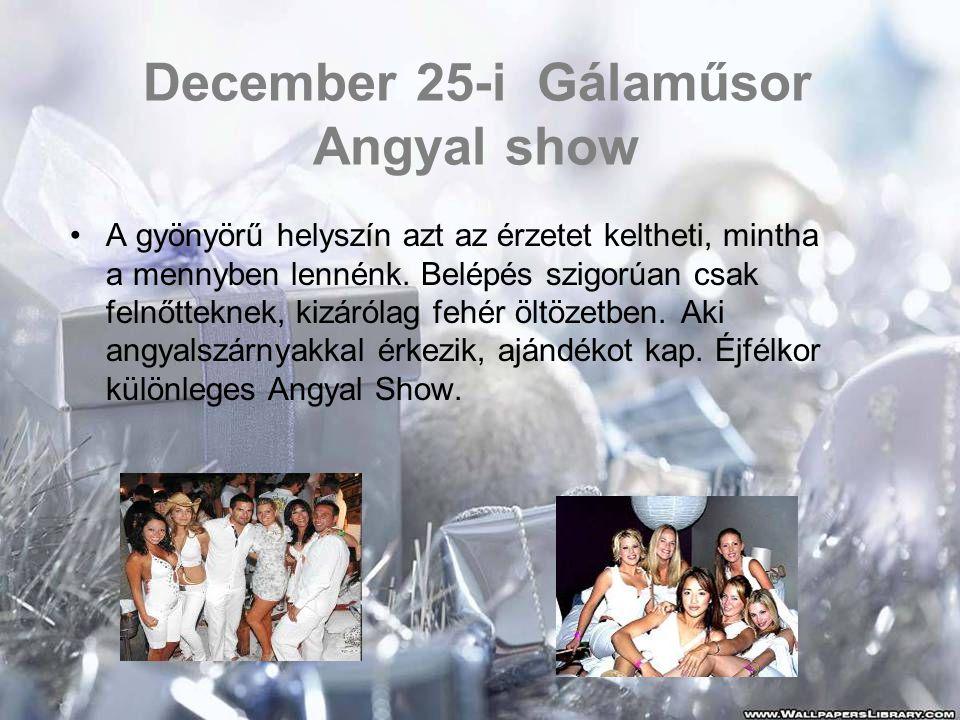 December 25-i Gálaműsor Angyal show •A gyönyörű helyszín azt az érzetet keltheti, mintha a mennyben lennénk. Belépés szigorúan csak felnőtteknek, kizá