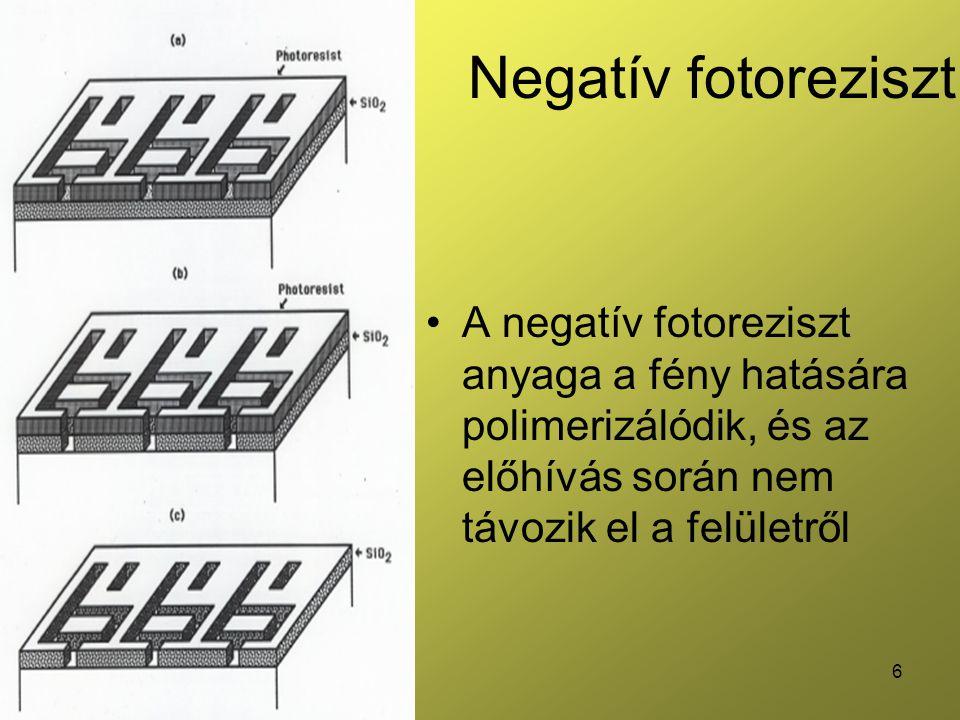 6 Negatív fotoreziszt •A negatív fotoreziszt anyaga a fény hatására polimerizálódik, és az előhívás során nem távozik el a felületről