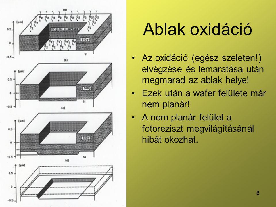 8 Ablak oxidáció •Az oxidáció (egész szeleten!) elvégzése és lemaratása után megmarad az ablak helye.
