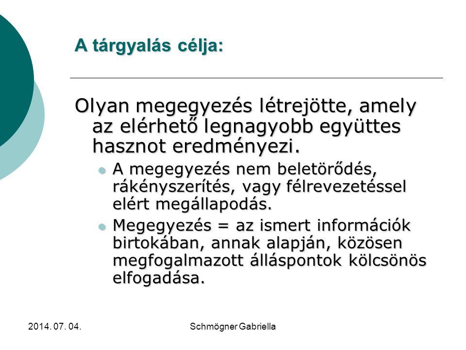 2014. 07. 04.Schmögner Gabriella Tárgyalás Összefoglalás  Befolyásolás  Meggyőzés  Bizonyítás  Vitatkozás  Saját akarat érvényesítése  Ellentéte