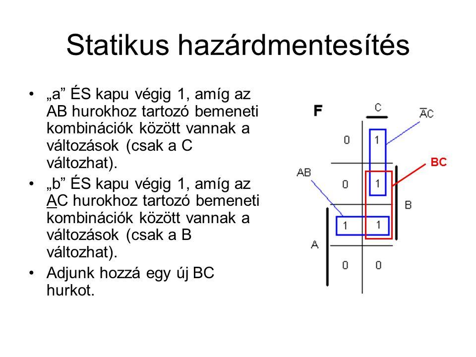 """Statikus hazárdmentesítés •""""a ÉS kapu végig 1, amíg az AB hurokhoz tartozó bemeneti kombinációk között vannak a változások (csak a C változhat)."""