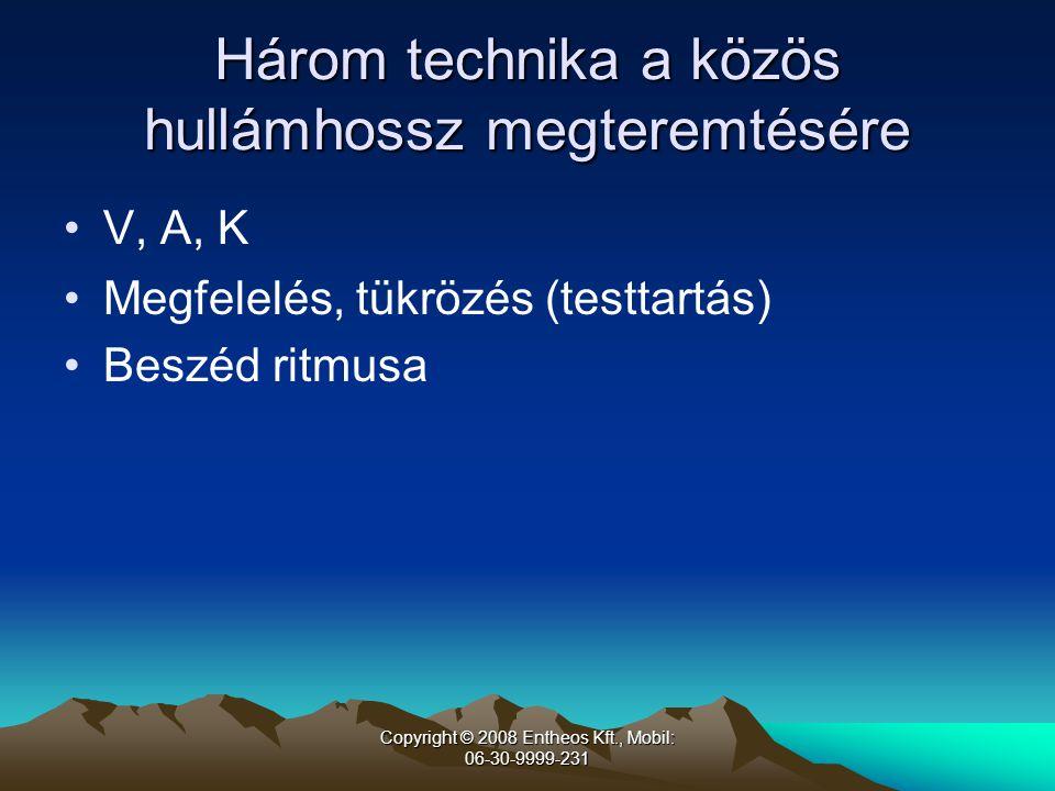 Copyright © 2008 Entheos Kft., Mobil: 06-30-9999-231 Három technika a közös hullámhossz megteremtésére •V, A, K •Megfelelés, tükrözés (testtartás) •Beszéd ritmusa