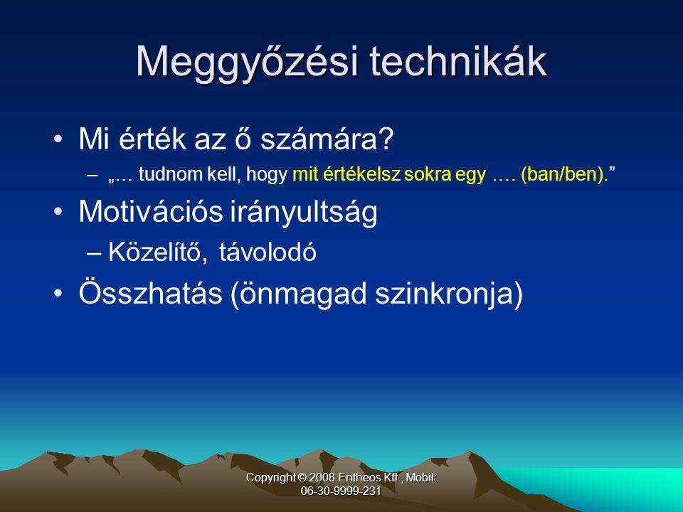 Copyright © 2008 Entheos Kft., Mobil: 06-30-9999-231 Meggyőzési technikák •Mi érték az ő számára.